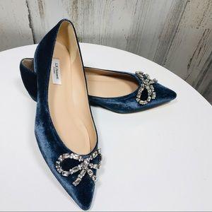 L.K. Bennett Elin Blue Velvet Flats Crystal Bow